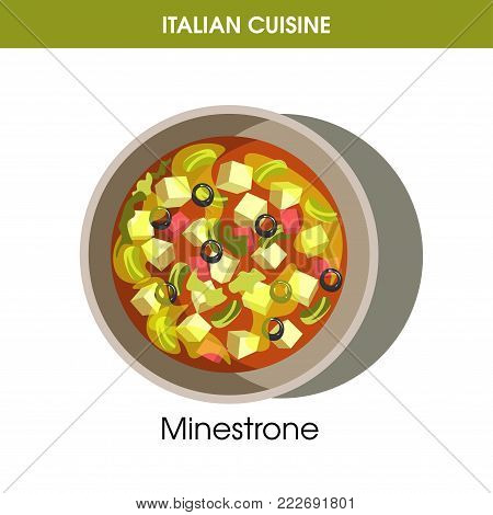 Italian cuisine Minestrone soup traditional dish food icon for restaurant menu or recipe design template. Vector Italy cuisine vegetable Minestrone soup in bowl plate for Italian cafe