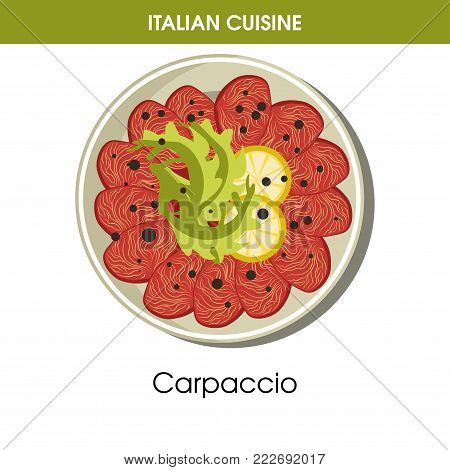 Italian cuisine Carpaccio appetizer traditional dish food icon for restaurant menu or recipe design template. Vector Italy cuisine Carpaccio snack of meat or fish on plate for Italian cafe