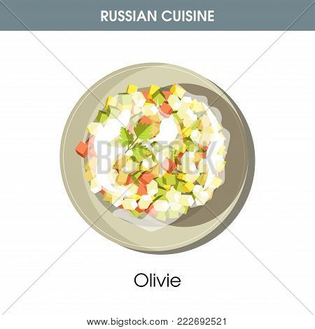 Rich Olivie salad dressed with mayonnaise from traditional Russian cuisine isolated cartoon flat vector illustration on white background. Nutritious dish with cubic vegetables and boiled sausage.