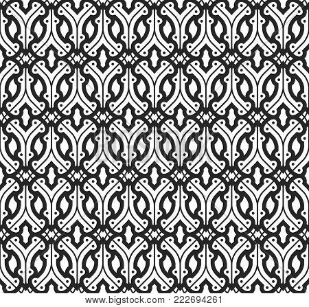 Seamless pattern with stylized curved lines and dots. Abstract and classical network for background and upholstery. Editable monochromatic background. poster