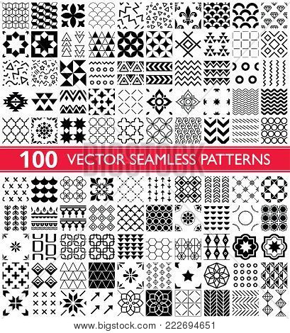 100 vector seamless pattern collection, geometric universal patterns and tiles - big pack