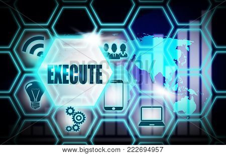 Execute concept model world mape blue background