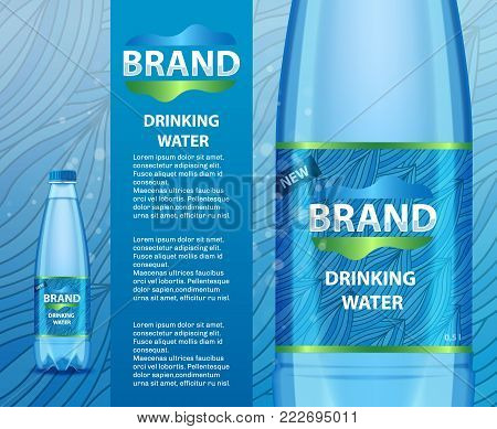 Vector realistic illustration of drinking water plastic bottle with label mockup template. Transparent mineral water bottle with your brand.