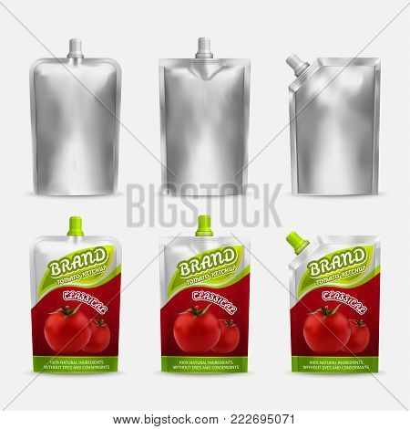 Tomato ketchup pack mockup design, vector realistic illustration. White blank and color doypack template set. Doy-pack plastic bags isolated on white background.
