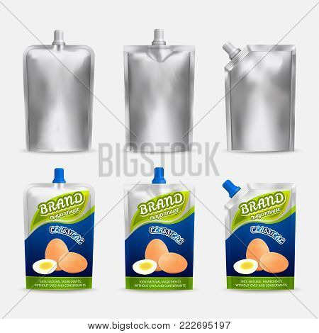 Mayonnaise package mockup design, vector realistic illustration. White blank and color doypack template set. Doy-pack plastic bags isolated on white background.