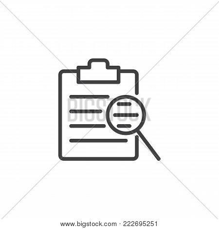 Clipboard checklist and magnifying glass line icon, outline vector sign, linear style pictogram isolated on white. Search document file symbol, logo illustration. Editable stroke