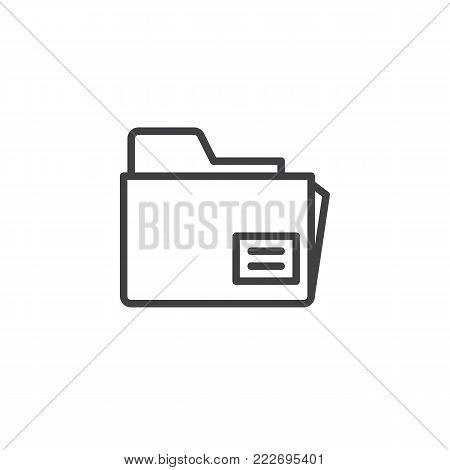 Folder, file, document line icon, outline vector sign, linear style pictogram isolated on white. Office doc symbol, logo illustration. Editable stroke