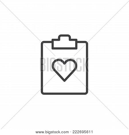 Favorite document file line icon, outline vector sign, linear style pictogram isolated on white. Clipboard and heart symbol, logo illustration. Editable stroke