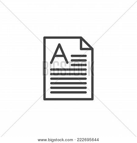 Perfect grade on a paper test line icon, outline vector sign, linear style pictogram isolated on white. Symbol, logo illustration. Editable stroke