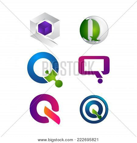Alphabet letter Q logo design set. Modern abstract simple clean 2D flat or 3D unusual sign icon symbols pack. creative Initial logotype icon vector illustration template element.