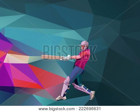 Low polygon style illustration of a cricket player batsman with bat batting set on colorful background. Horisontal view.