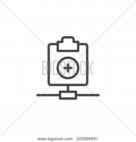 Network clipboard add line icon, outline vector sign, linear style pictogram isolated on white. Add file symbol, logo illustration. Editable stroke