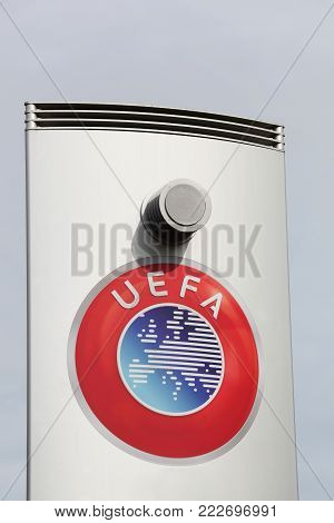 Nyon, Switzerland - October 1, 2017: UEFA logo on a panel. UEFA is the administrative body for association football in Europe with 55 national association members
