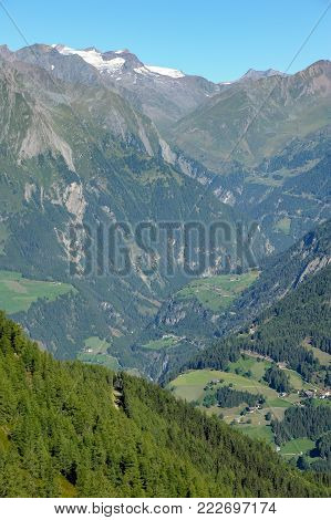 Valley in the Austrian alps in summer on a sunny day, Osttirol Austria