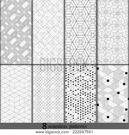 Vector set of eight monochrome seamless patterns. Modern stylish backdrop. Repeating geometric tiles with thin line snap. Black and white line backgrounds collection. Endless repeating linear texture