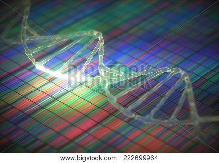 3D illustration. DNA Sanger Sequencing and DNA Helix.
