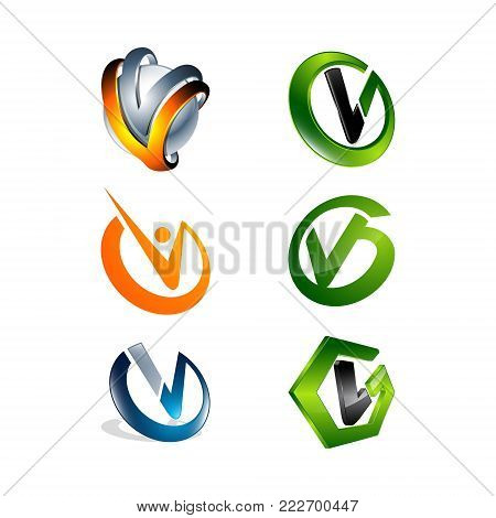 Alphabet letter V logo design set. Modern abstract simple clean 2D flat or 3D unusual sign icon symbols pack. creative Initial logotype icon vector illustration template element.