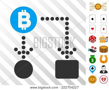 Bitcoin Cashflow icon with bonus gamble pictures. Vector illustration style is flat iconic symbols. Designed for gamble ui.
