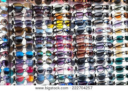 Many multi-colored glasses with colored glasses protect from the sun.