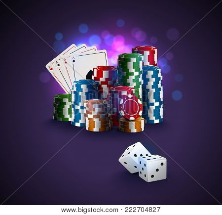 Poker Vector Illustration, Stack Of Poker Chips, Ace Cards On Bokeh Purple Background, Two White Dic