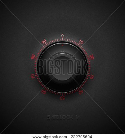 Realistic black combination safe lock volume element on textured plastic dark background. Red glossy round scale. Vector security icon or design element