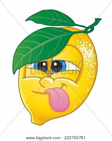 Cute lemon fruit character pulling a funny face for lemon-flavored fruit candy or drink.