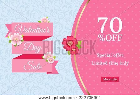Valentines day sale web banner design template. Pink flat ribbon on blue floral background. Polka dot pattern with 70 percent off discount limited time offer text. Daisy flower decoration