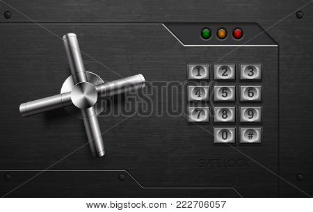 Realistic Safe Lock Metal Element On Brushed Metal Background. Stainless Steel Wheel. Vector Icon Or