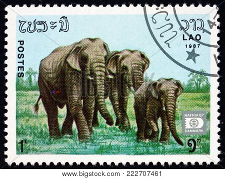 LAOS - CIRCA 1987: a stamp printed in Laos shows two adult Indian elephants and a calf, elephas maximus indicus, is one of three recognized subspecies of the Asian elephant, circa 1987