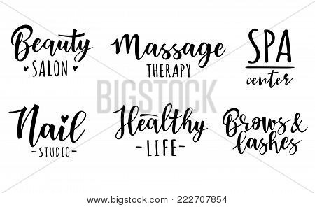 Vector illustration of a beauty and healthy set. For beauty salon, lash extensions maker, brow masters, spa center.