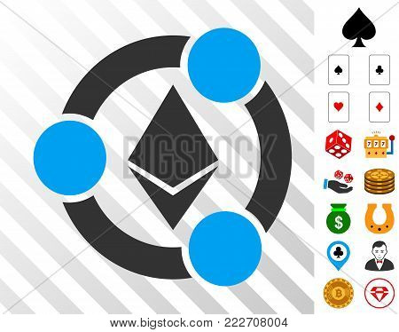 Ethereum Collaboration icon with bonus gambling images. Vector illustration style is flat iconic symbols. Designed for gambling gui.