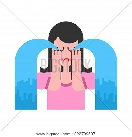 Woman is crying. female hysterics. Lot of tears. Fountains of teardrop. Sadness and suffering Vector illustration.