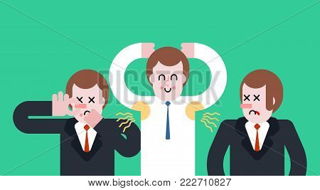 Smell of sweat. Smelly armpit. Stink. Man Close nose. Guy Stubs. Vector illustration