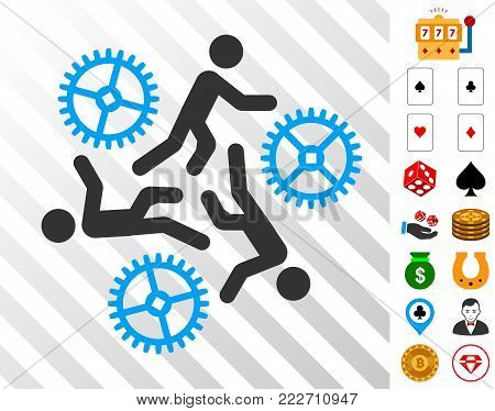 Running Persons For Gears pictograph with bonus gambling graphic icons. Vector illustration style is flat iconic symbols. Designed for gamble ui.