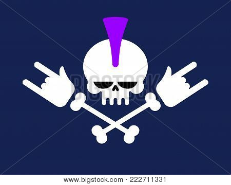 Punk skull with mohawk and rock hand. head of skeleton. Vector illustration