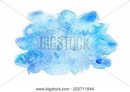 Abstract blue watercolor stain on a white background. Watercolor stains, drawn by hand.