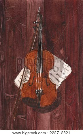 Watercolor illustration of a violin and notes on a brown wood background