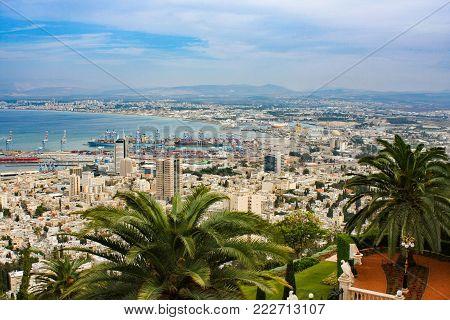 The Haifa Bay, the slope of Mount Carmel in Haifa, Israel