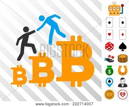 Bitcoin Business Climbing Help pictograph with bonus gamble clip art. Vector illustration style is flat iconic symbols. Designed for gamble ui.