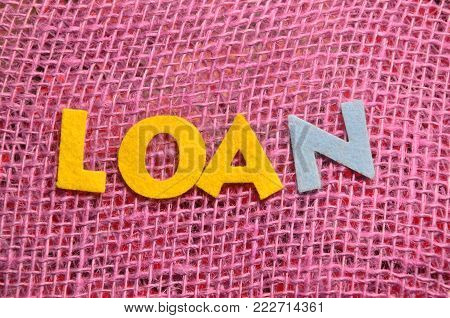 word loan on an  abstract colored   background