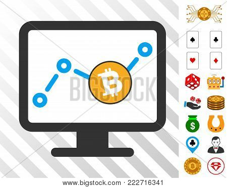 Bitcoin Chart Monitoring icon with bonus gambling design elements. Vector illustration style is flat iconic symbols. Designed for casino websites.