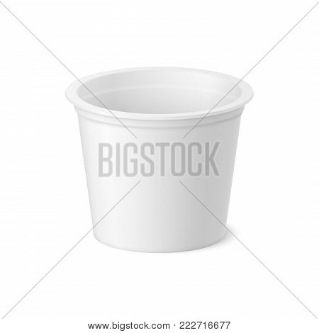Vector realistic yogurt, ice cream or sour creme package on white backgrounnd. 3D illustration. Mock up of plastic container isolated. Template for your design. Side view.