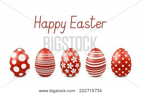 Vector Happy Easter greeting card with realistic eggs isolated. Five red glossy metal easter eggs. Text 'Happy Easter'. Self-made font. 3D illustration