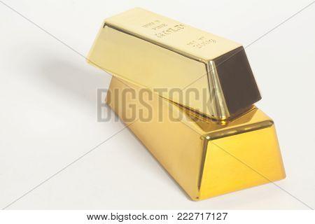 Gold Bullion On A White Background