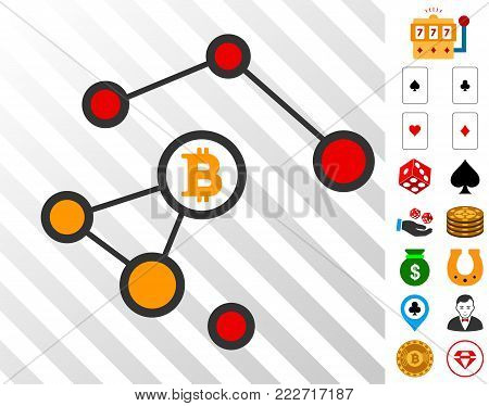 Bitcoin Damaged Network pictograph with bonus gambling images. Vector illustration style is flat iconic symbols. Designed for casino websites.