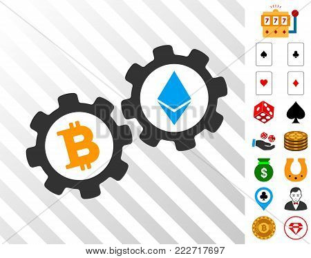 Bitcoin Gears pictograph with bonus gamble clip art. Vector illustration style is flat iconic symbols. Designed for gamble ui.