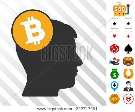 Bitcoin Imagination Head pictograph with bonus gambling clip art. Vector illustration style is flat iconic symbols. Designed for gamble gui.