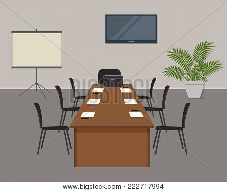 Conference hall. Office room is prepared for the meeting. There is a screen, a desk and chairs in the image. On the table is laptop, paper for notes and pencils. There is also a flower here. Vector