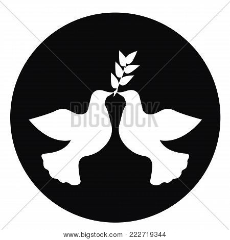 International Peace Day. Dove vector on a black background