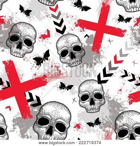 Vector seamless pattern with dotted skull, red crosses, butterflies, blots and arrows in red and black on the white background. Abstract background in creative Trash Polka and dotwork style.